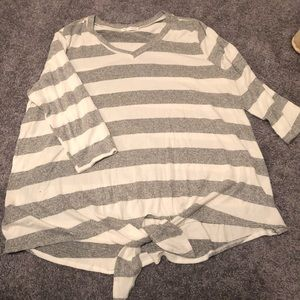 Grey and white striped top. NWOT